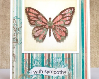 Butterfly Sympathy Card- With Sympathy- Condolences Card- Funeral Card- Bereavement Card