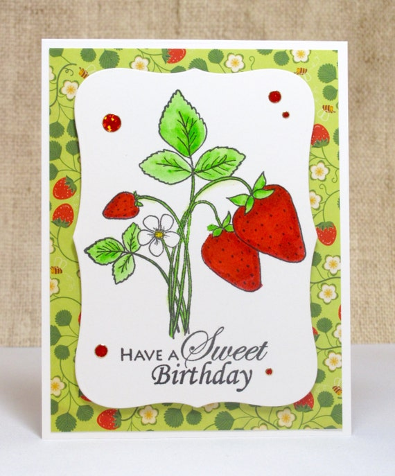 Strawberry Birthday Card Sweet Birthday Wishes Summer
