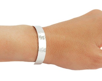 Woman's Wide sterling silver cuff, personalized gift for her, personalized bracelet, inside outside message cuff, hand stamped message cuff