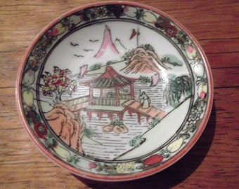 small ANTIQUE CHINESE BOWL,handpainted dipping bowl, Macau