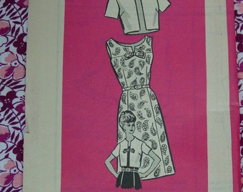 Vintage Pattern c.1950's Mail Order Printed Pattern, Dress and Jacket, Sz. 18 1/2