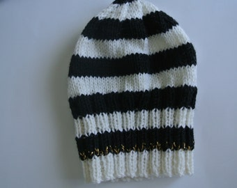 Kids Beanie - Knitted, Black & White, Gold Trimming