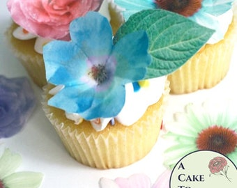 Edible Flowers, 24 Wafer Paper Flowers And Leaves For Cake Decorating And  Cupcake Decorating,