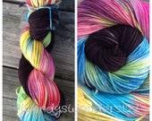 Hand Dyed Yarn, Hand Painted Yarn SW Merino, Knitting Yarn
