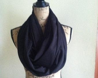 """Black double pocket black jersey knit 75"""" scarf"""
