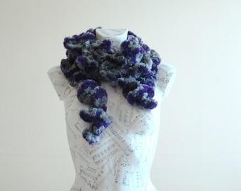 faux fur scarf knit ruffle scarf crochet ruffle scarf fun fur woman scarf fur neck scarf knitting ruffle scarf ruffle scarf purple scarf