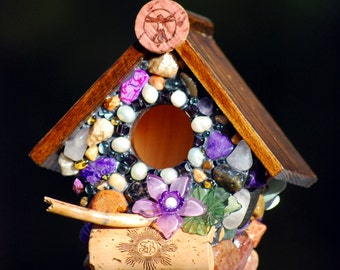 Miniature Mosaic Purple garden bird house with Whimsical Amethyst stones flower and wine corks wine lovers cork art kitchen birdhouse violet