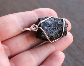 Black Tourmaline Silver Wire Wrapped Pendant  #6301