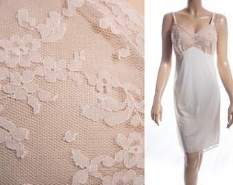 Vintage 1960's luxurious 'Van Raalte' silky soft cream nylon and delicate see through caramel lace detail full slip petticoat - 3513