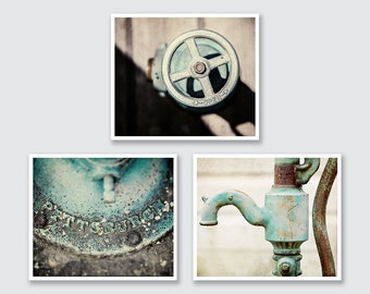 Teal Bathroom Decor Set of 3 Rustic Fine Art Photographs or Canvas Art, Water Pump, Teal, Shabby Chic Rustic Aqua Laundry, Vintage Bath Art.