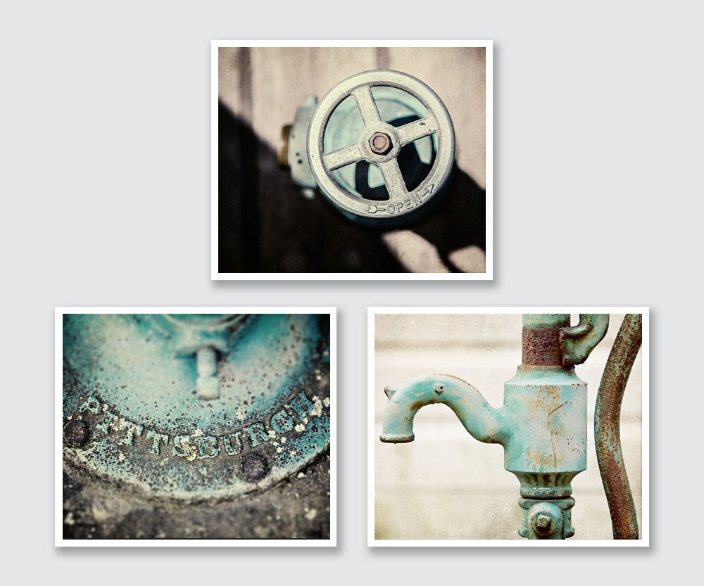 Teal bathroom decor set of 3 rustic fine art photographs or for Teal bathroom accessories sets