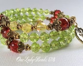 Rosary Bracelet, Olive Green-Red Crackle Wrap,Catholic Jewelry, Religious Bracelet,Confirmation,First Communion,Christmas Rosary Gift,578