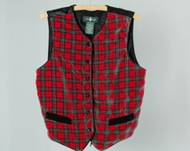 Vintage Plaid Ugly Christmas Vest | Velvet Red & Green Large Tacky Holiday Xmas Party Outfit | Ugly Sweater Party | Holiday Unisex 15AJ