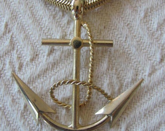 Vintage Nautical Necklace Anchor Pendant Bold & Dramatic