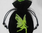 CITRON FAIRY - Velveteen Drawstring Pouch with Machine Embroidery - Dice Bag, Tarot, Wristlet