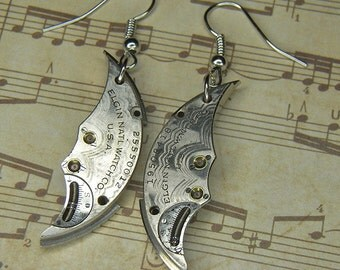 Steampunk Earrings - Bright Silver Vintage ELGIN Train Bridge Moon Shaped Watch Movements with Floral Etching - Bright & Bold