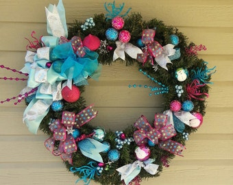 Christmas Wreath of Turquoise, Pink & Silver