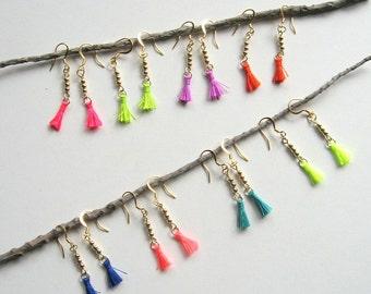 Mini Tassel Earrings - small earrings, tassel earrings, bohemian, tassels, cotton, miniature, neon colors, gold beads, modern, boho
