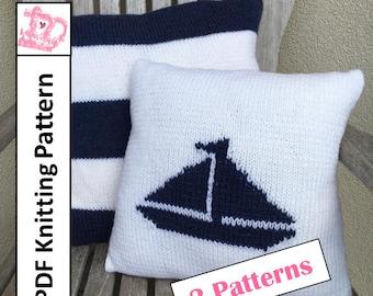 PDF KNITTING PATTERN, Nautical knitting patterns, Sailboat pillow cover, pillow cover knitting pattern, stripe knitting pattern