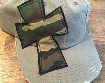Olive baseball hat with cross by Two Girls Who Make Crosses