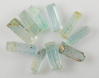 Aquamarine Crystals Ten Natural Aquamarine Crystals