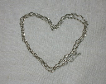 Vintage Silver Chain, Thai Sterling 925+, 18 inch, Figaro. Boho, Tribal