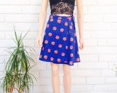70's STRAWBERRY MINI SKIRT vintage wrap skirt strawberry cute kitsch summer xS