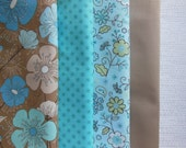 Aqua Blue Tan Cloth Napkins - Poppy Flower Napkins - Aqua Dot Napkins - Aqua Flower Napkins - Tan Napkins - Aqua Napkins - Blue Napkins
