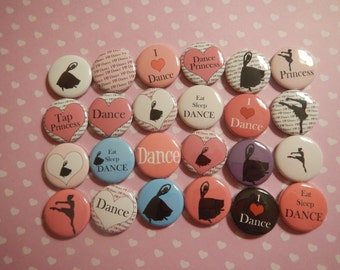 24 Ballet Dance Inspired Pinback Button Party Favors Brooches