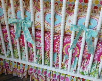 Girl Crib Bedding- Girl Baby Bedding- Kumari Garden Bedding- MADE to ORDER- Crib Bedding Set- Kumari Garden Baby Bedding Set- Girl Bedding