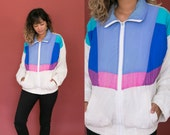 80s Color Block Jacket / Retro Rain Jacket / Multicolor Windbreaker Jacket / Rain Coat Zip Up / White Blue Pink Teal Purple Lined
