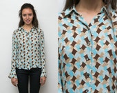 80s 90s SILK Button Up Vintage Shirt / Psychedelic Diamond Collared Blouse / Geometric Abstract Pattern Top Long Sleeve Button Down Retro