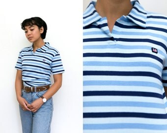Polo Shirt / Blue Striped Shirt / 90s Vintage Ralph Lauren Collar Shirt / Stretchy Collared Blouse / Small 90s Grunge V Neck Short Sleeve