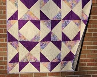 Modern Quilt, Homemade Quilt, Purple Patchwork Throw Quilt