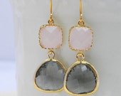 Charcoal Gray and Pink Earrings Trimmed in Gold - Bridesmaid Earrings -Dangle Earrings- Wedding-Bridesmaid Gift