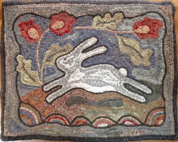 "Rug Hooking PATTERN, Spring Delight, 18"" x 24"", J804, Bunny Hooked Rug, Primitive Hooked Rabbit, Folk Art Bunny"