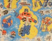 vintage 80s Transformers bed sheet twin flat 1984 Hasbro Industries reclaimed material fabric Optimus Prime 1980 cartoon