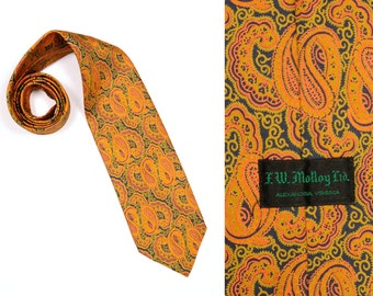 vintage mens necktie 60s 70s vintage wide tie mustard yellow paisley tie 1960 1970 wide silk men's tie F. W. Molloy LTD.