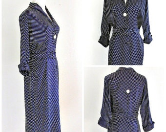Vintage Day Dress, 1940s, Secretary Dress, Navy Blue & White, Polka Dot Dress, Grace Fuller Dress, Size 6.