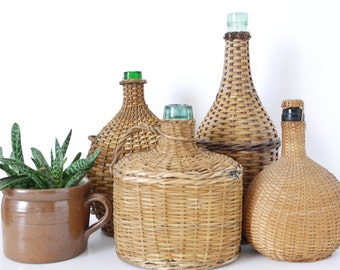 French curated collection of Vintage demijohn wine bottle oil bottle carboy-