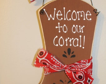 Personalized Wooden Country Cowboy Boot Sign