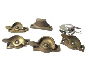 Brass Lock WOOD Window Parts- Old Restoration Hardware- Old House Parts