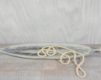 Leaf shaped wood tray, home accent, distressed shabby chic for decorative accessories