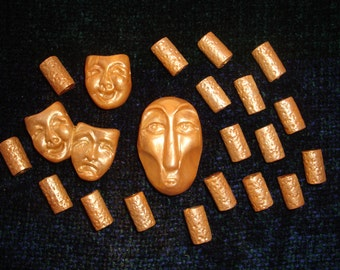 Set of 18 Tube and 3 Face Burnished Gold Polymer Clay Beads