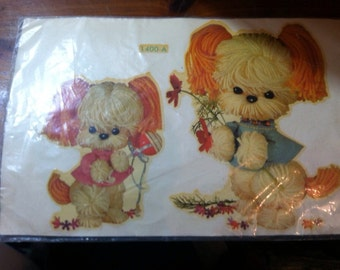 Vintage antique mid century fun adorable poodle decals new in package dress up your furniture etc...
