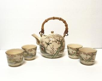 1930s Japanese Satsuma Pottery Tea service with teapot and cups, hand painted sakura with birds, gilt, Craquelure 5pc set