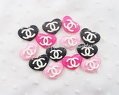 6pcs - Fancy Glitter Heart White Logo Decoden Cabochon (27x20mm) HRL10006