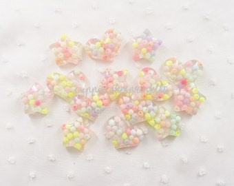 6pcs - Medium Candy Confetti Hearts and Stars Mix Decoden Cabochon (29x23mm) CY10037