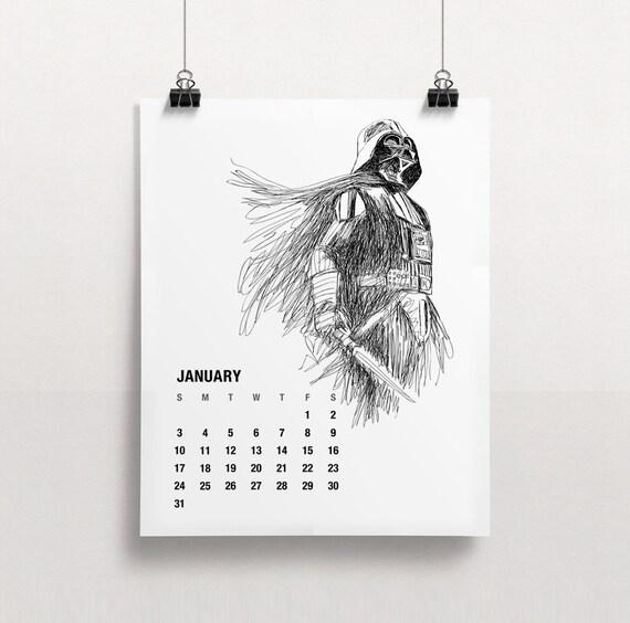Printable star wars calendar calendar template 2016 for Calendrier mural 2015