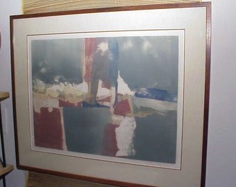 Original Mid-Century Modern Abstract Mixed Media Collage ART by E. Rose 1970's